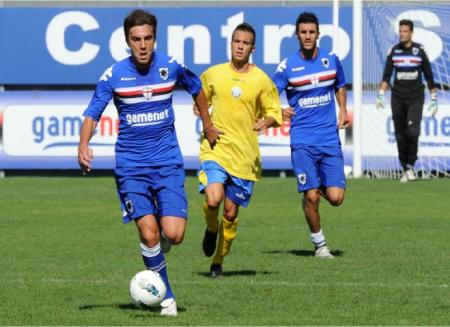 Bentivoglio no jogo treino (sampdoria.it)